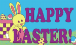 Happy Easter Bunny Large Flag - 5' x 3'.